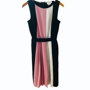 Kate Spade pleated creme de creme midi black panel dress